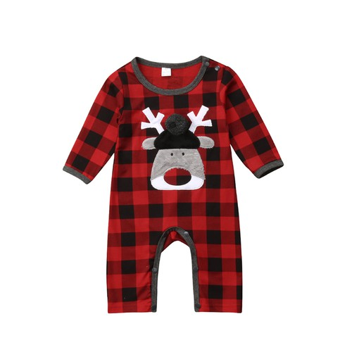 Christmas Plaid Reindeer Romper - orangeshine.com