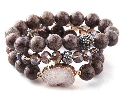 3PC Natural stone druzy bracelet  - orangeshine.com