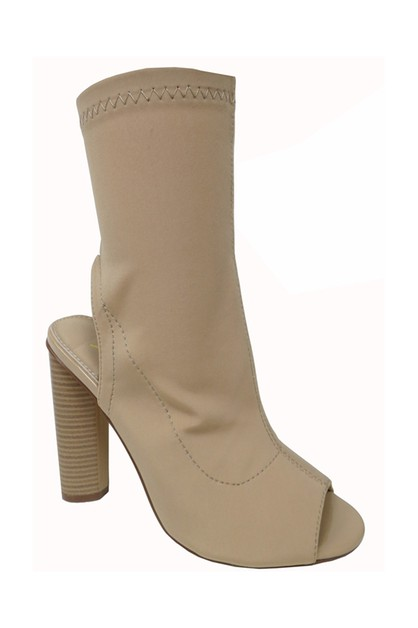 Peep Toe Block Heel Riding Booties - orangeshine.com