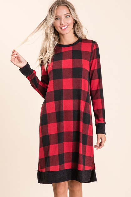 LONG SLEEVE PLAID DRESS - orangeshine.com