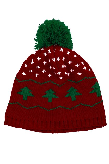 Christmas Tree Winter Pom Beanie - orangeshine.com