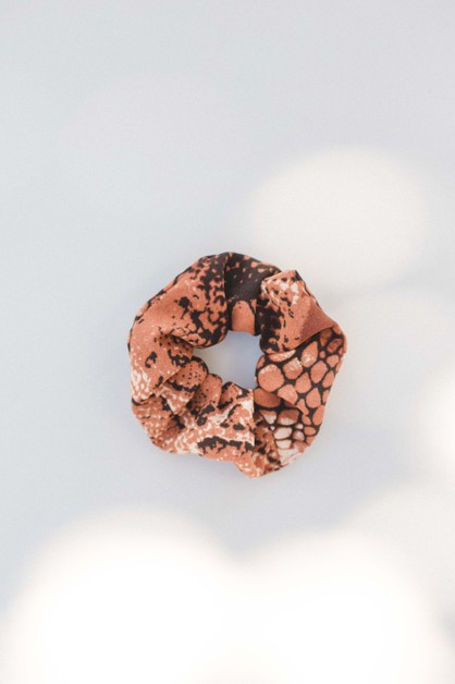 Burnt Orange Python Print Scrunchie - orangeshine.com