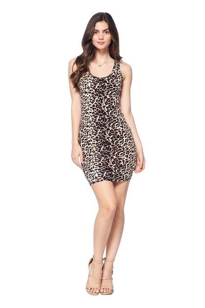 LADIES LEOPARD COTTON PRINT DRESS - orangeshine.com