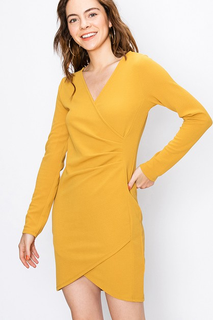 FAUX WRAP BODYCON DRESS  - orangeshine.com