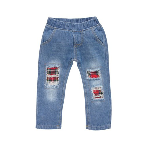 Plaid patch Distressed  jeans - orangeshine.com