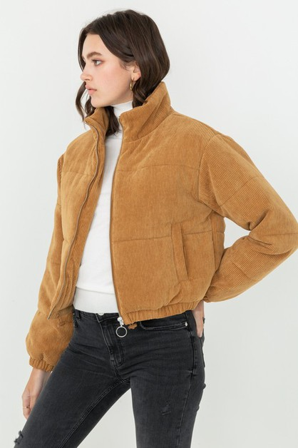 Over Sized Puffer Corduroy Jacket - orangeshine.com