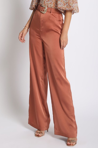 BELTED SATIN PANTS - orangeshine.com