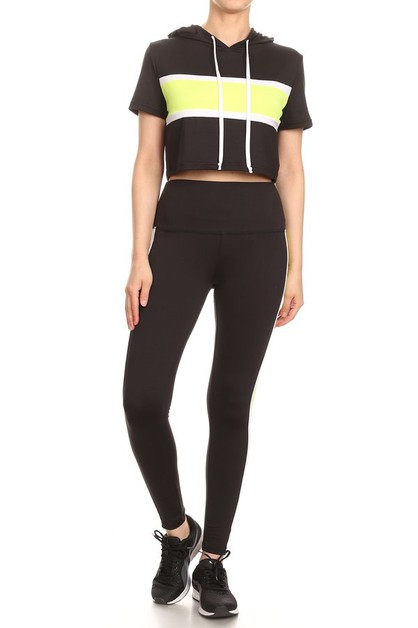 Black Sets Crop Tops Yoga Pants  - orangeshine.com
