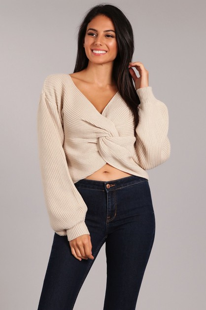 Knit Cropped Pullover Sweater Top - orangeshine.com