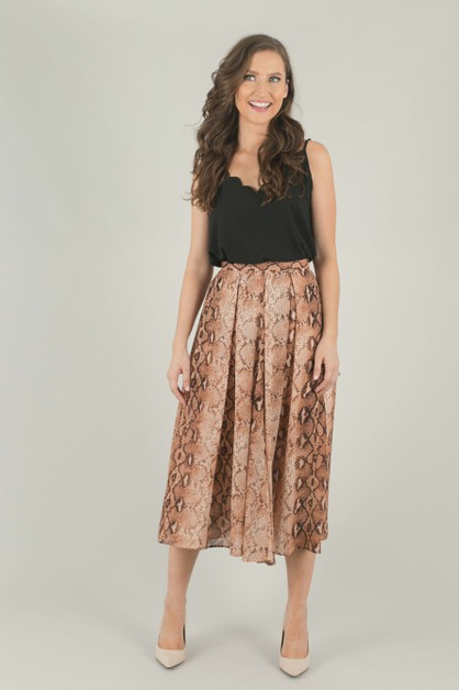 Burnt Orange Snake Pleated Skirt - orangeshine.com