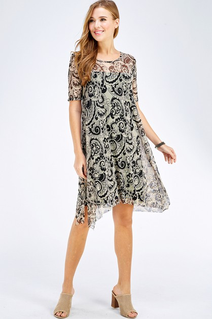 PAISLEY MESH ASYMMETRICAL DRESS - orangeshine.com