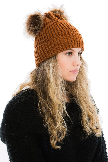 Faux Fur Pom Pom Ear Design Beanies - orangeshine.com