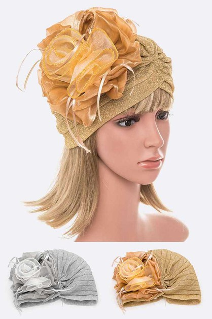 Organza Flower Metallic Turban Hat S - orangeshine.com