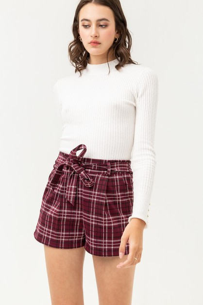 Plaid Pattern Waist String Shorts - orangeshine.com