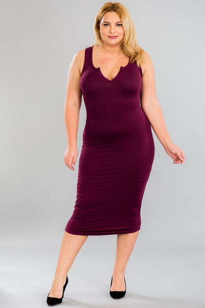 Plus Size Split Neck Tank Dress - orangeshine.com