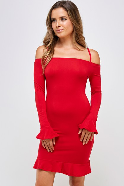 Off Shoulder Ruffled Dress - orangeshine.com