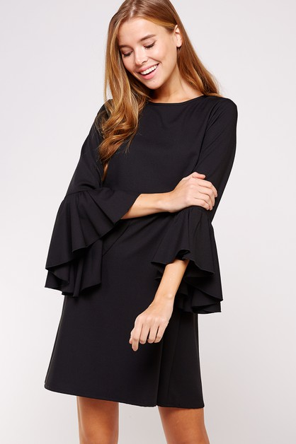 CASCADING BELL SLEEVE SHIFT DRESS - orangeshine.com