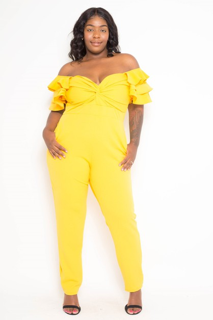 Plus Size Ruffled Flutter Jumpsuit - orangeshine.com