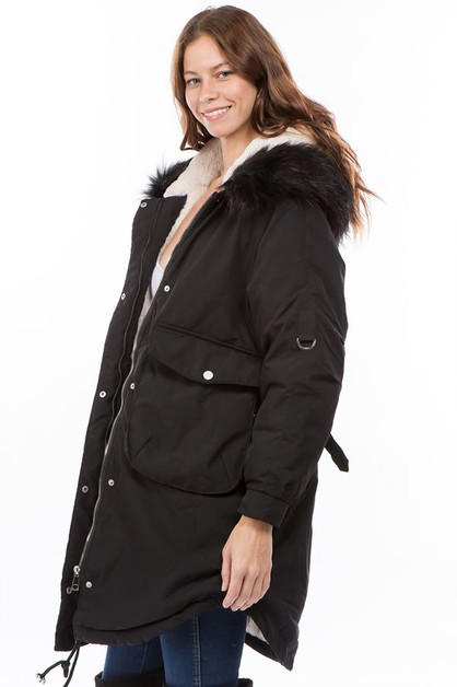 PUFFER JACKET FAUX LEATHER - orangeshine.com
