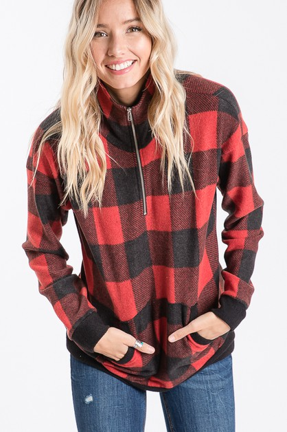 PLAID ZIP UP SWEATER  - orangeshine.com