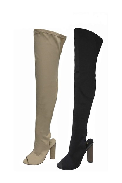 Peep Toe Block Heel Riding Boots - orangeshine.com