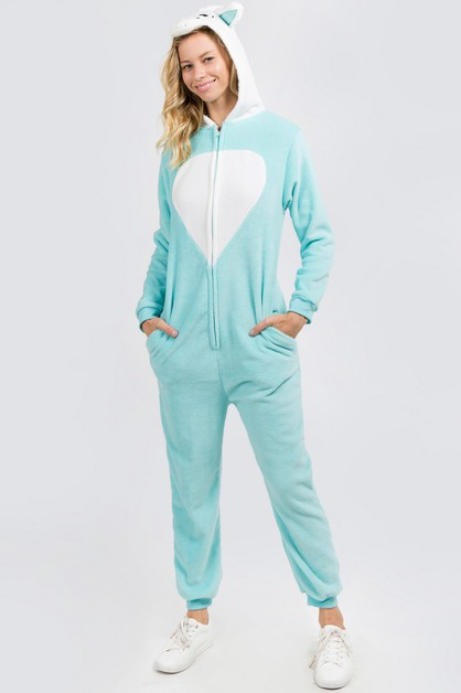 Plush Blue Unicorn Animal Onesie Paj - orangeshine.com