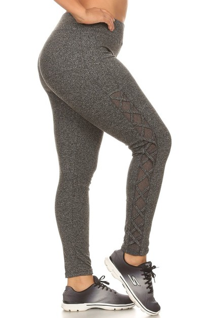 Plus Size Sports Mesh Leggings  - orangeshine.com
