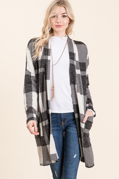 PLAID LONG SLEEVE CARDIGAN  - orangeshine.com