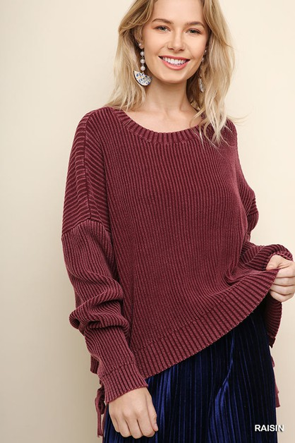 Long Sleeve Knit Pullover Sweater - orangeshine.com