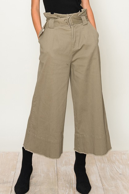 WIDE LEG PAPER BAG CROP PANTS - orangeshine.com