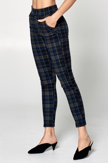 CHECKER PLAID SLIM FIT PANTS - orangeshine.com