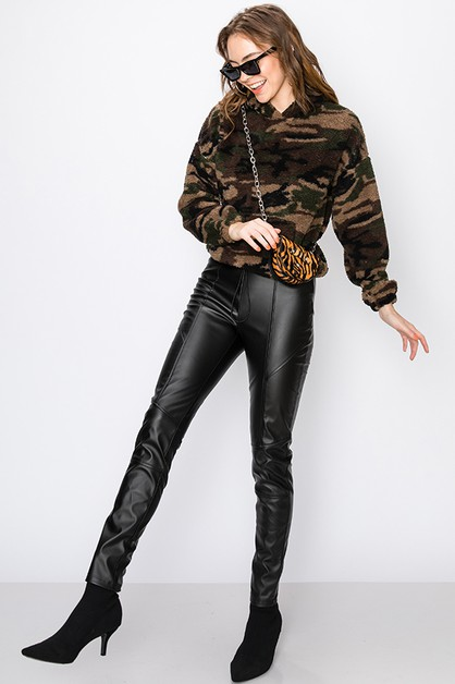 PLEATHER PANEL CONTRAST LEGGING - orangeshine.com