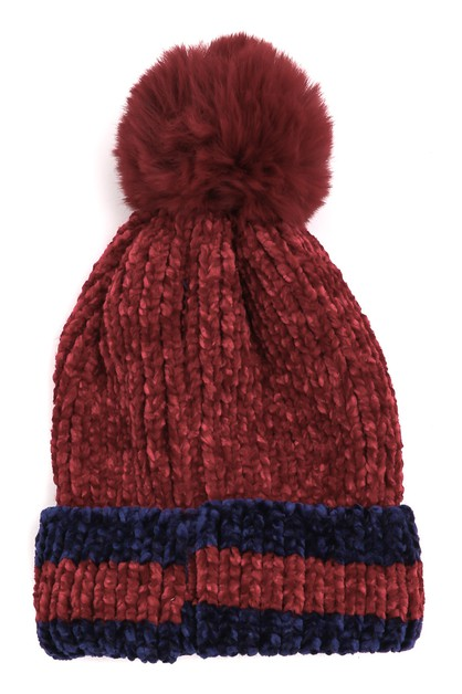Rib Knit Winter Pom Beanie - orangeshine.com