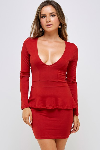 V-neck Ruffled Mini Dress - orangeshine.com