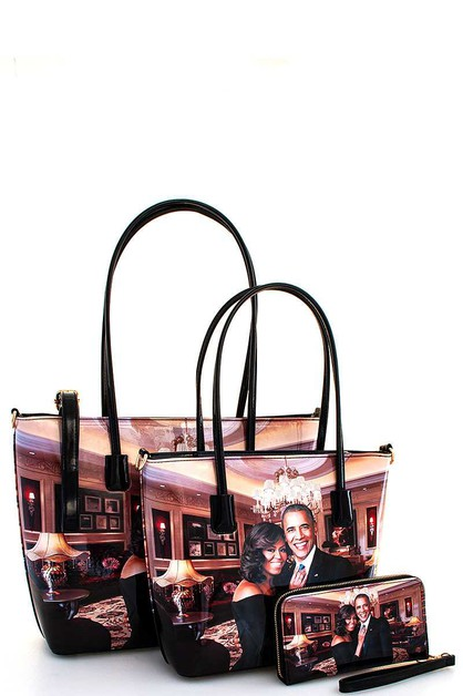 3IN1 OBAMA PRINT FASHION SHOPPER SET - orangeshine.com