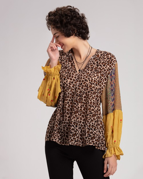 Moss Blouson Sleeve Top - orangeshine.com