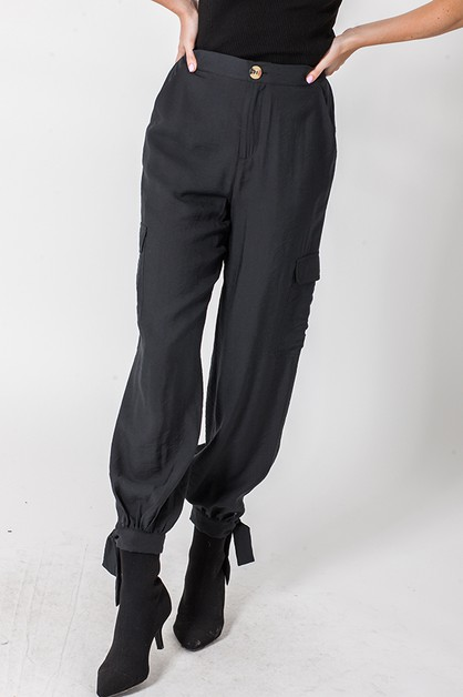 CARGO JOGGER WITH ANKLE TIE DETAIL - orangeshine.com