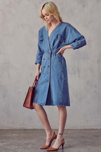 DENIM MIDI DRESS - orangeshine.com
