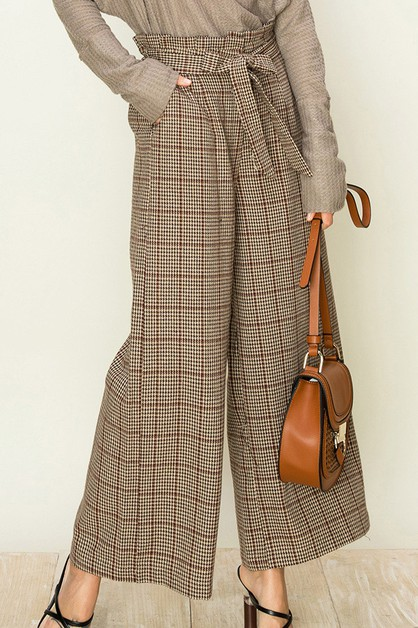 HOUNDSTOOTH GRID PAPERBAG PANTS - orangeshine.com