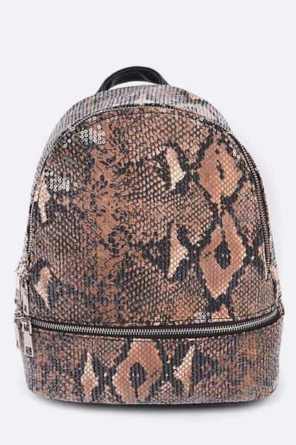 Python Snake Print Sequins Backpack - orangeshine.com