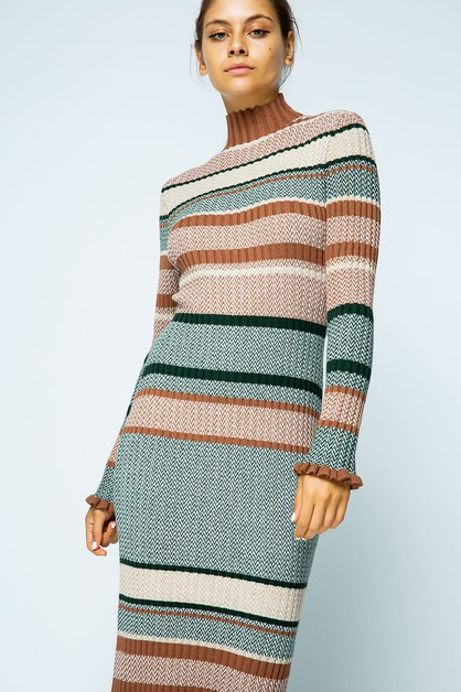RIBBED KNIT MULTI COLOR BLOCK DRESS - orangeshine.com