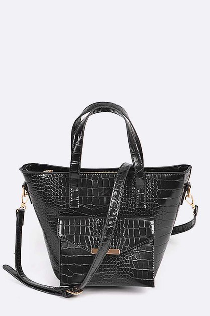 Crocodile Embossed Convertible Tote - orangeshine.com