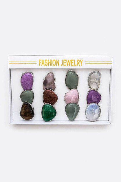 12 PCS Mix Gem Stone Ring Set - orangeshine.com