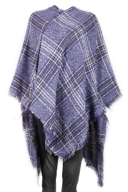 Knit Plaid Poncho - orangeshine.com