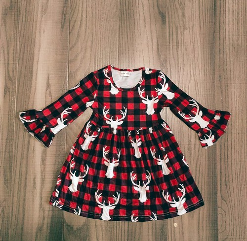 Plaid Deer Dress - orangeshine.com