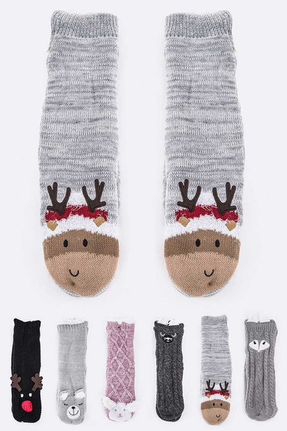 Fleeced Indoor Winter Socks Set - orangeshine.com