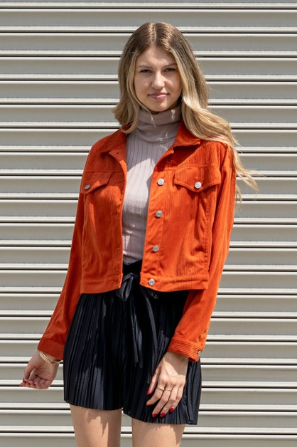 CORDUROY BUTTON-FRONT JACKET - orangeshine.com