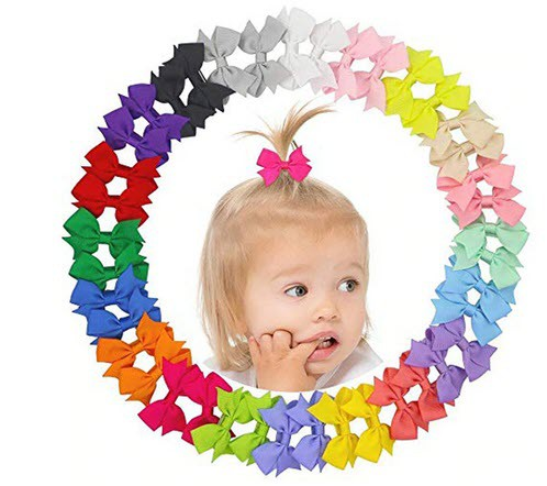 40pc Hairbows with clips - orangeshine.com