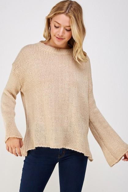 Ribbed Knit Pullover Sweater - orangeshine.com