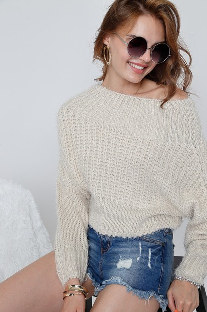 Solid boat neck long sleeve sweater  - orangeshine.com